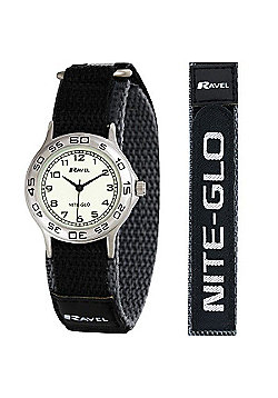 Boys Grey Black Nite-Glo Velcro Strap Watch