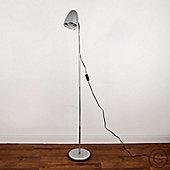 Kuppel Adjustable Flexi Neck Floor Lamp, Metallic Silver & Chrome