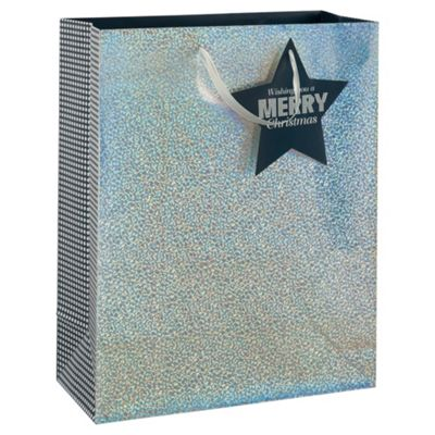 Tesco Silver Holographic Gift Bag , Large