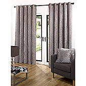 Velvetine Eyelet Curtains 117 x 137cm - Latte