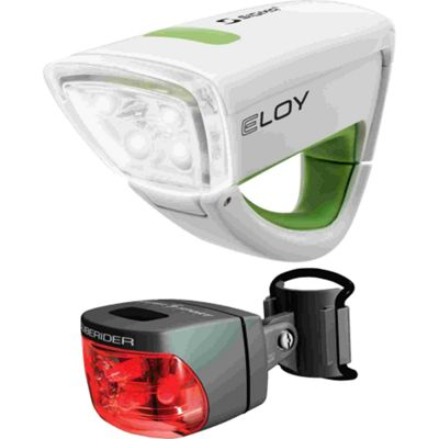Sigma Sport Eloy + Cuberider Light Set: White.