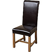 x2 Washington Braced Frame Brown Leather Dining Chairs