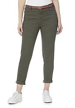 F&F Mid Rise Skinny Trousers with Belt - Khaki