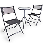 VonHaus Black Textoline Bistro Set – 3 Piece Table and Chairs Set with hardwearing woven fabric