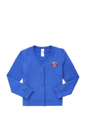 Girls Embroidered Jersey School Cardigan with As New Technology 10-11 years Royal blue