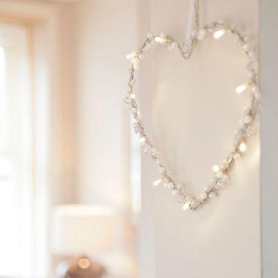 Battery Heart LED Fairy Light Wreath