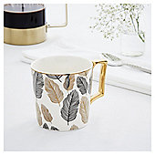 Fox & Ivy White Gold Feather Mug