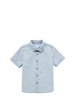 F&F Chambray Short Sleeve Shirt - Light wash