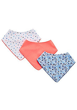 F&F 3 Pack of Print and Plain Dribble Bibs - Multi