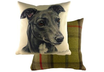 Evans Lichfield WaggyDogz Grey Greyhound Filled Cushion with Country Check