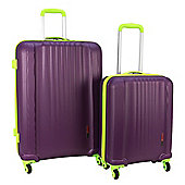 Swiss Case 4-Wheel Ez2c 2Pc Abs Suitcase Set, Purple & Lime