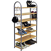 7 Tier 27 Pair Shoe / Hallway / Wardrobe Storage Shelves - Oak