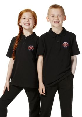 Unisex Embroidered School Polo Shirt Black 10-11 years