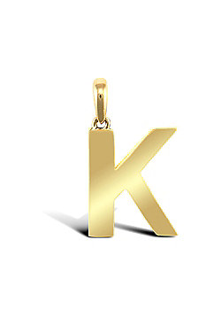 9ct Yellow Gold Initial Charm Identity Pendant - Letter K