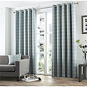 Curtina Braemar Check Duck Egg Eyelet Lined Curtains - 90x72 Inches
