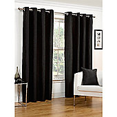 Hamilton McBride Faux Silk Lined Eyelet Black Curtains - 46x72 Inches (117x183cm)