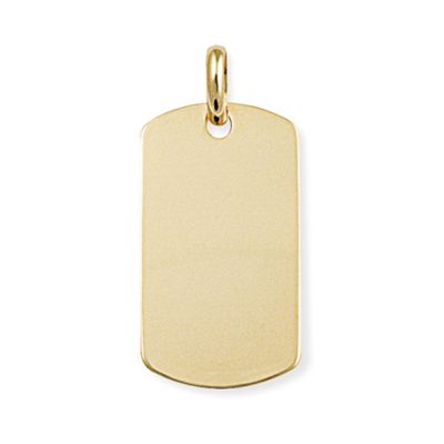Jewelco London 9ct Yellow Gold - Rectangular Dog Tag Charm Pendant -