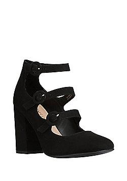 F&F Sensitive Sole Faux Suede Triple Strap Shoes - Black