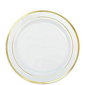 Premium Plastic Plates - 19cm White with Gold Trim