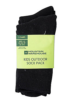 Mountain Warehouse Kids Socks Pack of 3 Secure Fit Blend of Cotton & Polyester - Black
