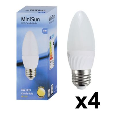 Pack of 4 Minisun 4W Warm White Frosted LED Candle Bulbs - ES E27