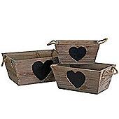 Heart - Set Of 3 Wood Storage Trugs / Baskets With Blackboards - Brown / Black