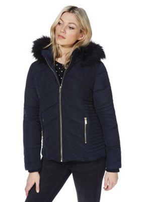 Wallis Faux Fur Trim Short Puffer Coat Navy L