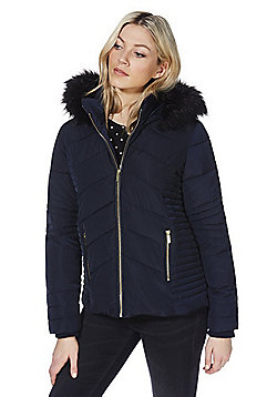 Wallis Faux Fur Trim Short Puffer Coat - Navy