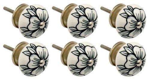 Ceramic Cupboard Drawer Knobs - Floral Design - Flower Bud - Pack Of 6