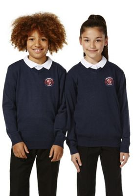 Unisex Embroidered V-Neck School Jumper with Wool 9-10 years Navy