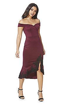 AX Paris Bardot Scuba Fishtail Dress - Plum