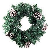35cm Pine Cone & Realistic Artificial Green Fir Christmas Wreath Decoration
