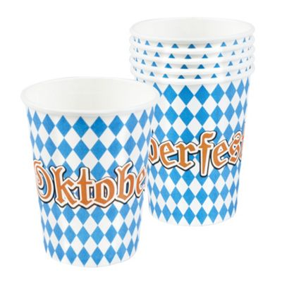 Oktoberfest Blue & White Pack Of 6 Paper Cups Party Supplies 25cl