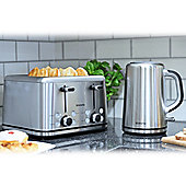 Brabantia BQPK04 Breakfast Set Kettle with Digital Temperature Control and 4 Slice Toaster - Brushed Stainless Steel