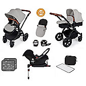 Ickle Bubba Stomp V3 AIO Travel System/Isofix Base/Buggy Lights Silver (Black Chassis)