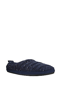 F&F Fleece Lined Cable Knit Mule Slippers - Navy