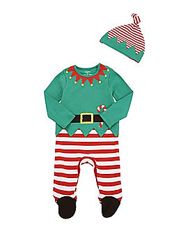 F&F Elf Christmas All in One with Hat - Green