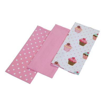 Homescapes Cotton Cupcakes Pink Blue Tea Towels Set Of Three