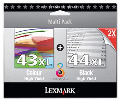 Lexmark Twin-Pack 44XL, 43XL Black and Colour Print Cartridges
