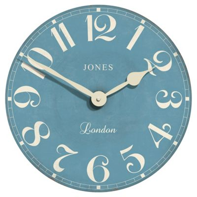 buy jones co torquay wall clock 40c40cm blue from our. Black Bedroom Furniture Sets. Home Design Ideas