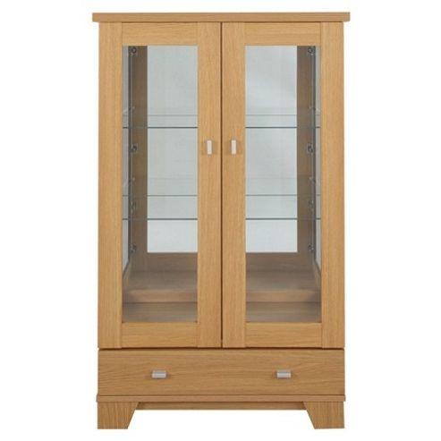 Caxton Sherwood 2 Door / 1 Drawer Display Cabinet in Natural Oak