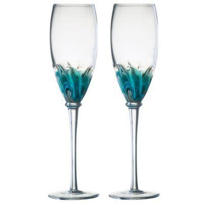 Anton Studios Design Solar Set of 2 Champagne Glasses Flutes in Blue