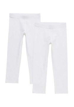 F&F 2 Pack of Cropped Leggings - White