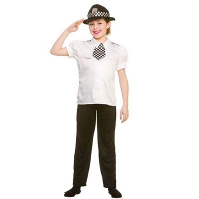 Police Women Childrens Fancy Dress Costume Shirt, Tie, Trousers & Hat-Medium 5-7 Years