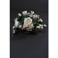 Artificial 30cm Pale Pink 7 White Rose & Mixed Foliage Table in a Teal & Gold Ceramic Vase