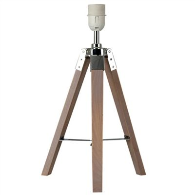 Marine Tripod Table Lamp Base, Wood and Chrome