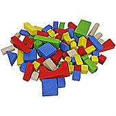 75-Piece Coloured Wooden Building Block Set