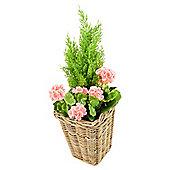Artificial Pink Geranium Planter