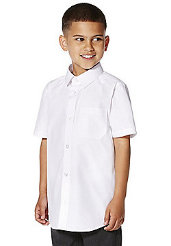 F&F 2 Pack of Boys Easy Care Slim Fit Short Sleeve Shirts - White