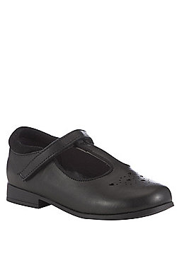 F&F Wide Fit Leather Heart Cut-Out School Shoes - Black